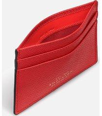 smythson women's panama flat card holder - scarlet red
