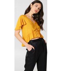 na-kd boho drawstring bell sleeve blouse - orange