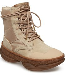a1 combat boot sand suede/canvas shoes boots ankle boots ankle boots flat heel brun alexander wang