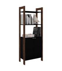 armário alto multiuso, tecno mobili, 2 p preto/marrom