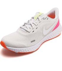 tenis running beige-rosa-naranja nike revolution 5
