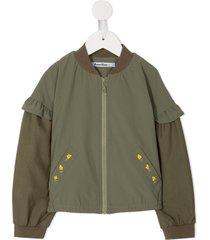 familiar ruffled sleeve bomber jacket - green