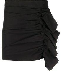 redvalentino ruffled detail shorts - black
