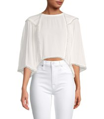 iro women's embroidered-trim cropped top - white - size 38 (6)