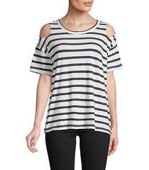 striped cold-shoulder cotton tee