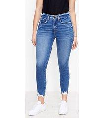 loft petite curvy chewed hem high rise skinny ankle jeans in vivid dark indigo wash