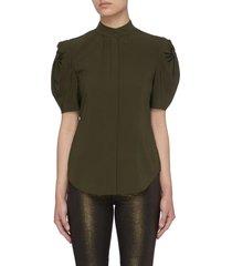 'evie' button collar balloon sleeves stretch silk blouse