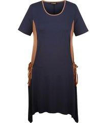 jersey jurk miamoda marine::cognac