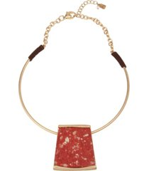 robert lee morris soho geometric jasper stone pendant collar necklace