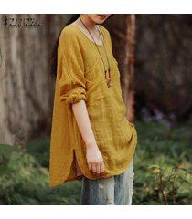 blusa con cuello redondo y manga larga zanzea para mujer-amarillo
