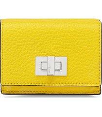 fendi textured trifold wallet - yellow