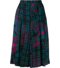 jean louis scherrer pre-owned 1970's check midi skirt - blue