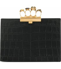 alexander mcqueen four ring clutch bag - black
