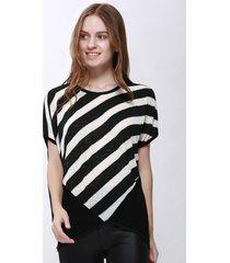 women's high-low hem stripe print batwing sleeve plus size blouse