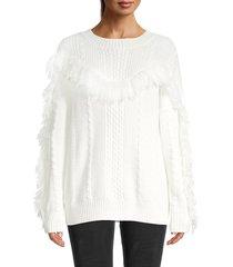 avantlook women's tassel cable-knit sweater - white - size m