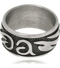 anel boca santa arabescos em aã§o inox - prata velho - dafiti