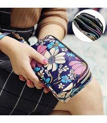le donne impermeabili di nylon patchwork tre cerniera 5,5 pollici sacchetto del telefono borsa fiore frizione borsa moneta