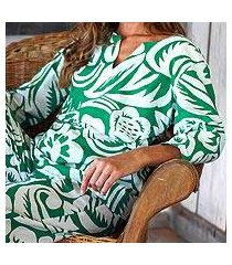 cotton pajamas, 'indonesian garden in emerald' (indonesia)