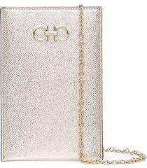 salvatore ferragamo gancini phone crossbody bag 11cmx17cm - gold