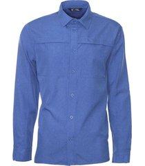 camisa manga larga ajustable azul kannú