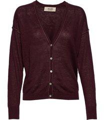 lark linen knit cardigan stickad tröja cardigan röd mos mosh