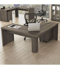 mesa para escritório angular carvalho me4116  - tecno mobili