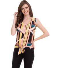 blusa crepe amarração na cintura feminina