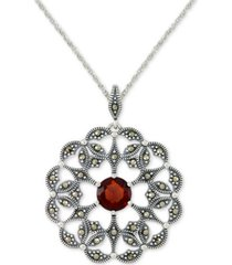 "rhodolite garnet (2 ct. t.w.) & marcasite flower 18"" pendant necklace in sterling silver"