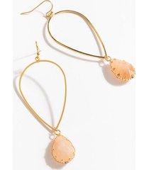 trinity stone drop earrings - pale pink
