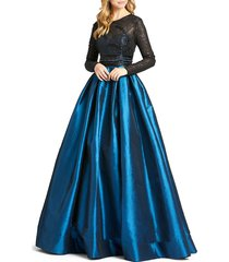 mac duggal women's embellished illusion ball gown - teal - size 6