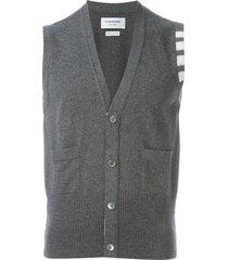 thom browne sleeveless buttoned cardigan - grey