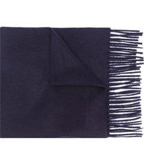 filippa k fine knit frayed edge scarf - blue