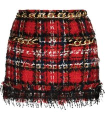 balmain sequin tweed mini skirt - black