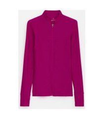 jaqueta esportiva fit texturizada e punhos com dedinhos   get over   roxo   p