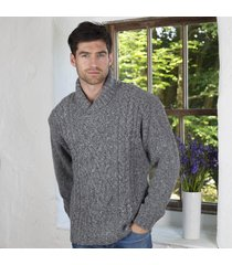 aran shawl collar sweater gray small
