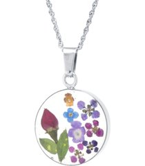"""medium round dried flower medal pendant with 18"""" chain in sterling silver. available in multi or blue multi"""