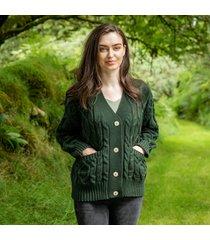 kells army green aran cardigan medium by paul costelloe