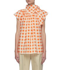 gingham check bow detail blouse