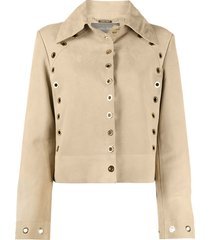 alberta ferretti fitted eyelet-detail jacket - brown