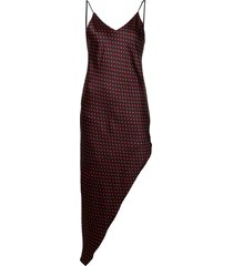 asymmetrical dot silk dress