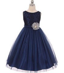 navy blue sleeveless lace tulle flower girl dresses birthday bridesmaid pageant