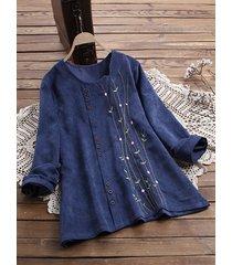 camicetta vintage a maniche lunghe con bottoni in velluto a coste ricamati
