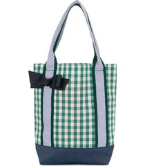 familiar bow detail check tote - green