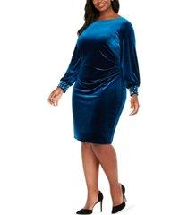 jessica howard plus size velvet sheath dress