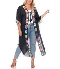 white mark plus size crochet cover-up kimono