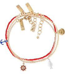 inc international concepts gold-tone 3-pc. set nautical charm anklet, created for macy's
