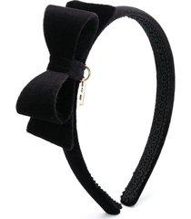 monnalisa bow and heart charm head band - black