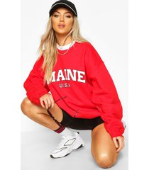 extreem oversized maine sweater met tekst, red
