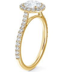 de beers forevermark center of my universe(r) round halo engagement ring with diamond band, size 6.5 in yellow gold-d0.70ct at nordstrom