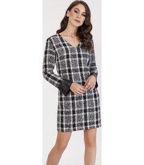 sukienka tweedowa z długimi rękawami